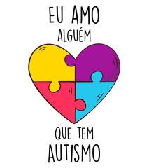 Camiseta estampa eu amo alguém que tem autismo